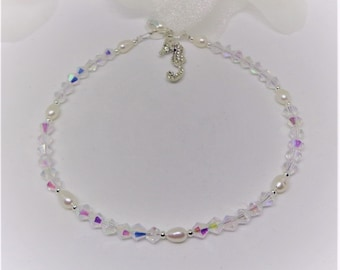 Silver Seahorse Ankle Bracelet Beach Anklet Tropical Anklet Clear AB Crystal Anklet White Pearl Anklet Sterling Silver Anklet Buy3+1Free