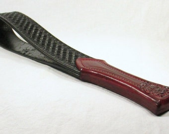 FS 1 Black Folded Strap with a Diamond pattern and Ox Blood Handle Mature Novelty