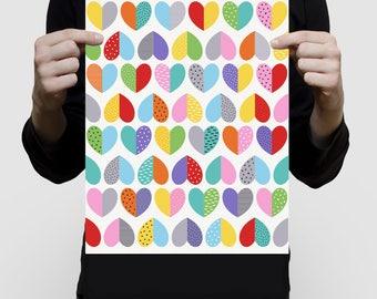 heart art pattern print - colourful wall art for the home or nursery, rainbow colours, bright fun scandi love hearts, art for girls modern