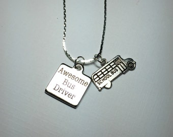 Awesome Bus Driver necklace, gift for her, gift for bus driver teacher helpers aides educators caregivers daycare workers