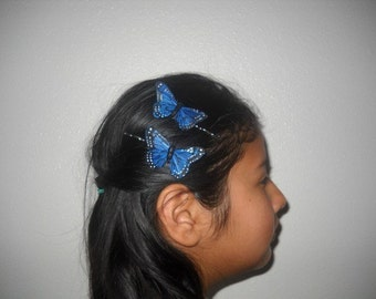 BLUE MONARCH - A Set Of Feather Butterflies On Bobby Pins, Butterfly Hair Clips, Bridesmaids, Whimsical Weddings, Spring, Summer,