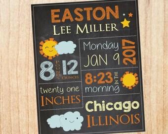 Sunshine Birth Announcement Sign. custom new baby you are my sunshine nursery art print. sunshine birth stats chalkboard. new baby gift