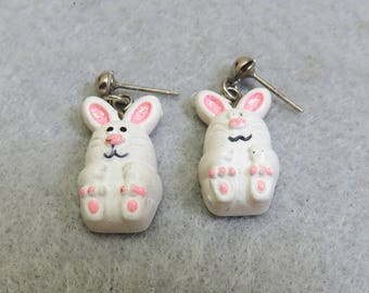 Easter Bunny Pierced Earrings, Vintage Hallmark Easter Earrings,  Vintage Easter Rabbit Earrings