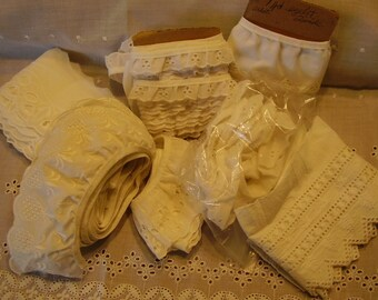 Vintage EYELET LACE Destash Lot/Craft/Sewing Supply