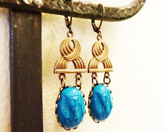 Vintage Glass Pharoah Cabochons, King Tut, Vintage Brass, Rare 1920s, Art Deco, Egyptian Revival, Turquoise Blue, Pharoah Cameo Earrings