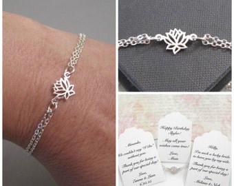 Adjustable Sterling Silver Tiny Lotus Flower Bracelet, Lotus Bracelet, Yoga Bracelet, Bridesmaid Bracelet, Wedding Jewelry, CUSTOM MESSAGE