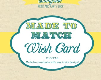 Wish /  Prediction / Advice Card - Printable - Baby Shower / Bridal Shower Game