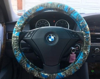 Teal Camo Steering Wheel Cover