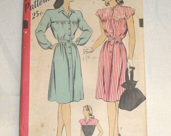 """Vintage 1940's HOLLYWOOD 2 Style Dress Pattern #1544 - 32"""" Bust 35"""" Hips"""