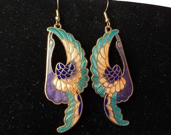 Vintage Cloisonne Bird Earrings, Cloisonne Bird Earrings, Cloisonne Swan Earrings, Cloisonne, Earrings