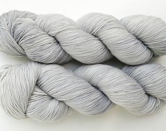Shel Silver - light gray hand dyed yarn - fingering, sock, sport, DK, worsted weight - 100 grams - dyed to order