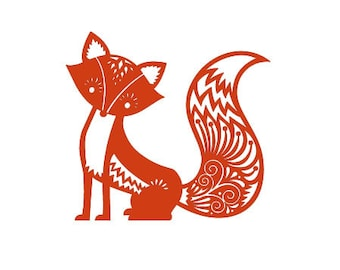 Cute fox rubber stamp Large