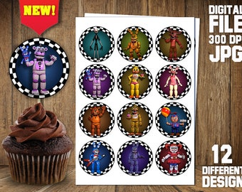 FNAF Cupcake Toppers digital, Five Nights At Freddy's Toppers, FNAF Birthday, Five Nights At Freaddy's cupcake toppers, FNAF Themed Birthday