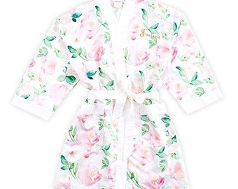 Floral Bridesmaid Robes Set Wedding Day Robes personalized initial Bride Bridesmaid Bridal Party - Custom Name Robes in extended plus sizes