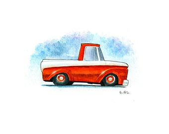 1966 Ford Unibody Pickup Truck Watercolor Print