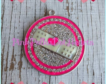 Doc inspired bandage 48mm chunky Rhinestone pendant for necklaces  jewelry chunky gumball necklace wholesale supplies bubblegum