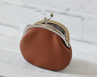 Small Brown Leather Clasp Change Purse Coin Purse Lambskin