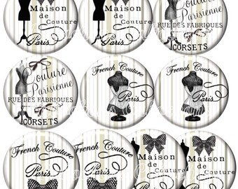 Set of 10 illustrated cabochons 18mm glass cabochons images vintage corset bustier