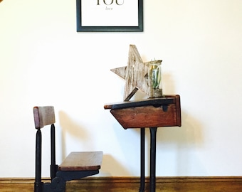 SOLD childrens original vintage school desk, combination retro desk, mid-century, vintage, original vintage.