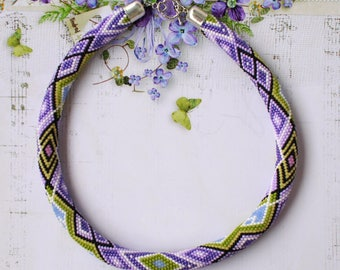 Seed bead crochet rope Spring bead crochet necklace Violet beadwork rope Crochet bead choker Chunky rope jewelry  Violet gift for girlfriend