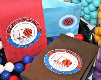 Basketball Party Favor Goody Bags. Basketball Birthday Loot Bags. Basketball Themed Treat Sacks. Basketball Goodie Bags. Basketball Hoop