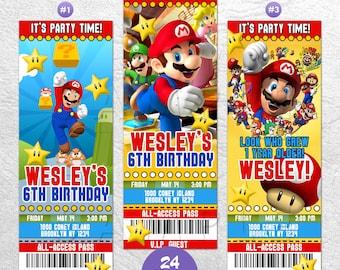 Super Mario Invitation, Super Mario Invite, Super Mario Birthday Invite, Mario Kart VIP Pass, Ticket Invitation, Super Mario Party Prints