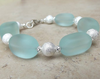 Aqua Sea Glass Bracelet:  Seafoam Green and Silver Beaded Beach Resort Wear Accessory, Chunky Bracelet