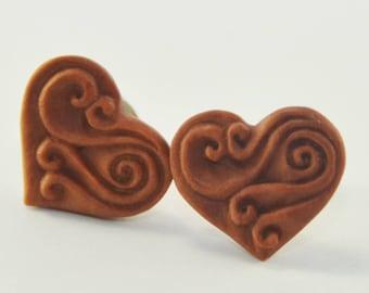Nebula Heart Stirrup Earrings Stud Loop Posts - Sabo Wood