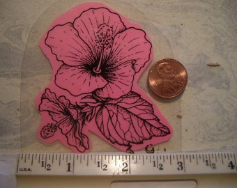 flower blossom hibiscus  rubber stamp un-mounted scrapbooking rubber stamping