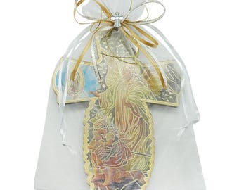 12 Pcs Guardian Angel Wall Cross in Decorated Organza bag / Baptism favor /Christening Favor/ First Communion Favor JE034Guar
