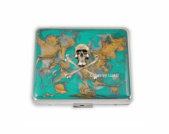 Skull and Crossbones Weekly Pill Box inlaid in Hand Painted Teal and Gold Enamel Quartz Inspired Personalized and Color Options Available