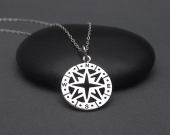 Compass Necklace Sterling Silver Compass Charm Pendant with Sterling Silver Chain