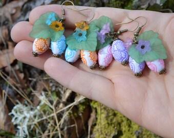Easter egg earrings, cute spring jewelry, eostre pagan earrings, pisanki easter egg jewelry, kawaii fairy kei easter earrings easter jewelry