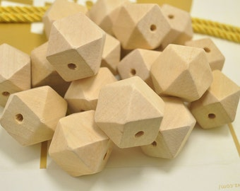 Wholesale 25mm Large Geometric Faceted Cube Wood Beads 50PC Natural Unfinished Unpainted Polyhedron wooden bead for Crafts Jewelry