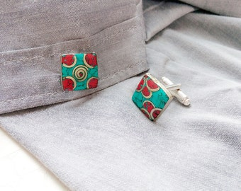 Cufflinks 'Rémi', Berber red and turquoise enamels - square cufflinks, gift for him, unisex, men's accessories, wedding accessory, handmade
