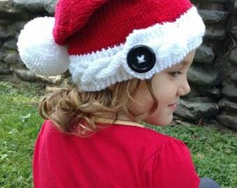 DIY- Knitting PATTERN #196: Santa Cable Band Knit Hat with button and pom-pom pattern, Santa Hat Pattern, toddler/child, Digital Pattern