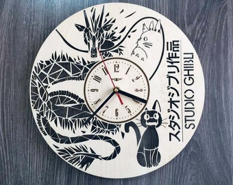 Studio Ghibli Wall Clock Steampunk Art Housewarming Gift Rustic Wood Decor My Neighbor Totoro Anime Wall Art Office Kitchen Wood Wall Clock