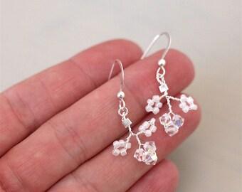 Swarovski earrings, sterling silver earrings, bridal earrings, Gypsophila earrings, crystal earrings, flower earrings, wedding jewellery