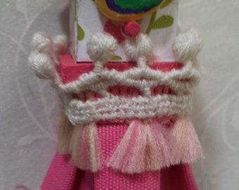 Little Princess Birdhouse Tassel Brooch Handmade OOAK Jewelry Pin