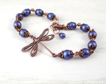 Dark Blue and Copper Dragonfly Bracelet with Swarovski Crystal Pearls - Adjustable Custom Length - with Antiqued Copper Filigree