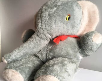 """Vintage Soft toy, Elephant, Tebro giant straw filled stuffed toy. 32"""" tall x 24"""" wide."""