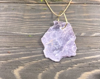 Bohemian Lavendar Leopoldite Raw Gem Necklace | Raw Crystal Necklace |  Eco-Friendly Jewelry | 10% Donation to ACLU