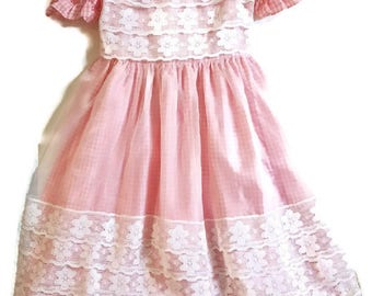 Pink Gingham Lace Dress size 4/5