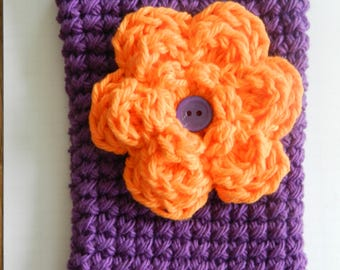 Crocheted Cell Phone Cozy/ Crocheted Orange Flower Cell Phone Cozy/ Purple Crocheted Cell Phone Cozy