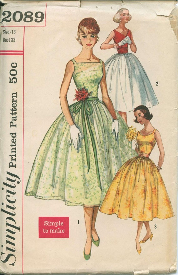 1950s Dress Simplicity 2089 Sewing Pattern Vintage Size 13