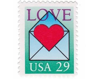 5 Unused Vintage Postage Stamps - 1992 29c Love Stamps - Item No. 2618