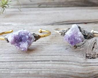 Raw Amethyst Crystal, Amythest Bracelet, Ultra Violet, Cuff Bracelet, Druzy Cuff Bracelet, Christmas Gift, Druzy Stone Bracelet, Purple