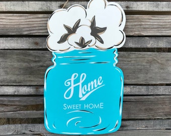 Finished Cotton Mason Jar Door Hanger Door Hanger, Painted