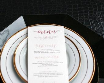 "Rose and Blush Reception Menus, Calligraphy Wedding Dinner Menus, Elegant Menu Card - ""Whimsical Calligraphy"" Flat Menu, No Layers - DEPOSIT"