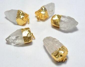 5 Pieces Arrowhead Pendant, Crystal Quartz Electroplated Gold Capped Arrowhead Pendant, Raw Gemstone Connectors, 35mm - 40mm